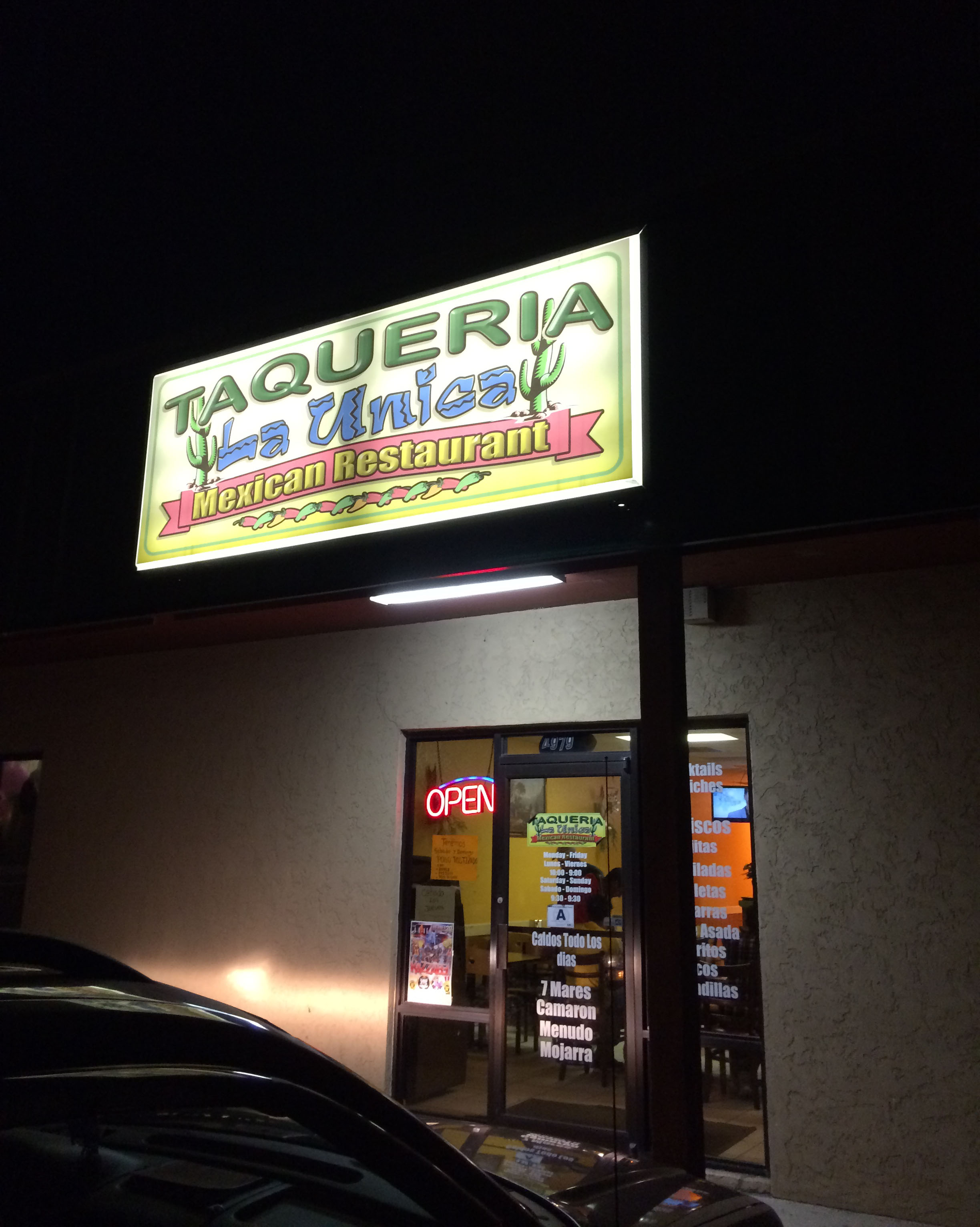 The entrance to Taqueria La Unican in Myrtle Beach.