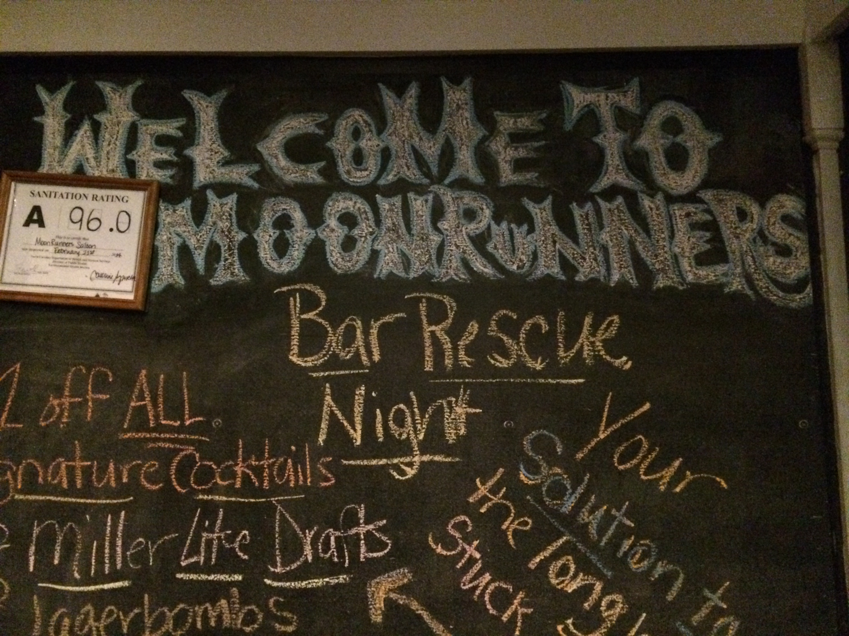 "It was ""Bar Rescue"" night at Moonrunner's last night."