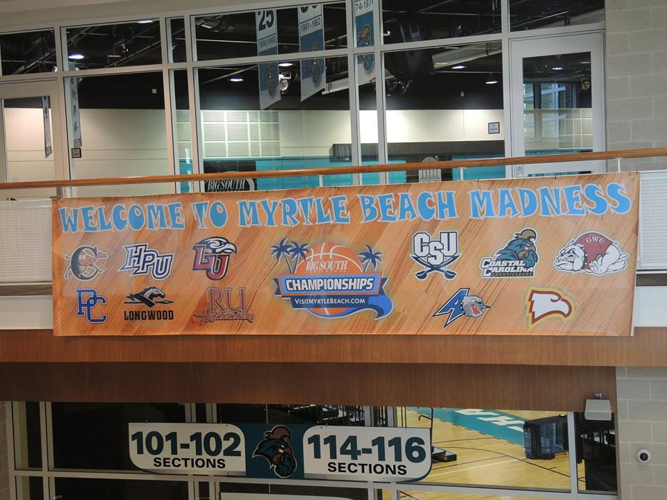 Coastal Carolina University is hosting both Big South Conference basketball tournaments. (Photo courtesy of my intern Jada Bynum).