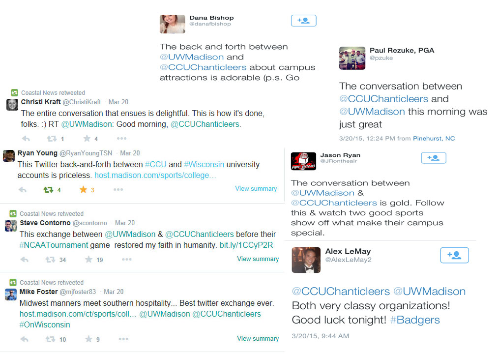 Here is just a sampling of some of the tweets received regarding the Twitter conversation between Wisconsin and Coastal Carolina.