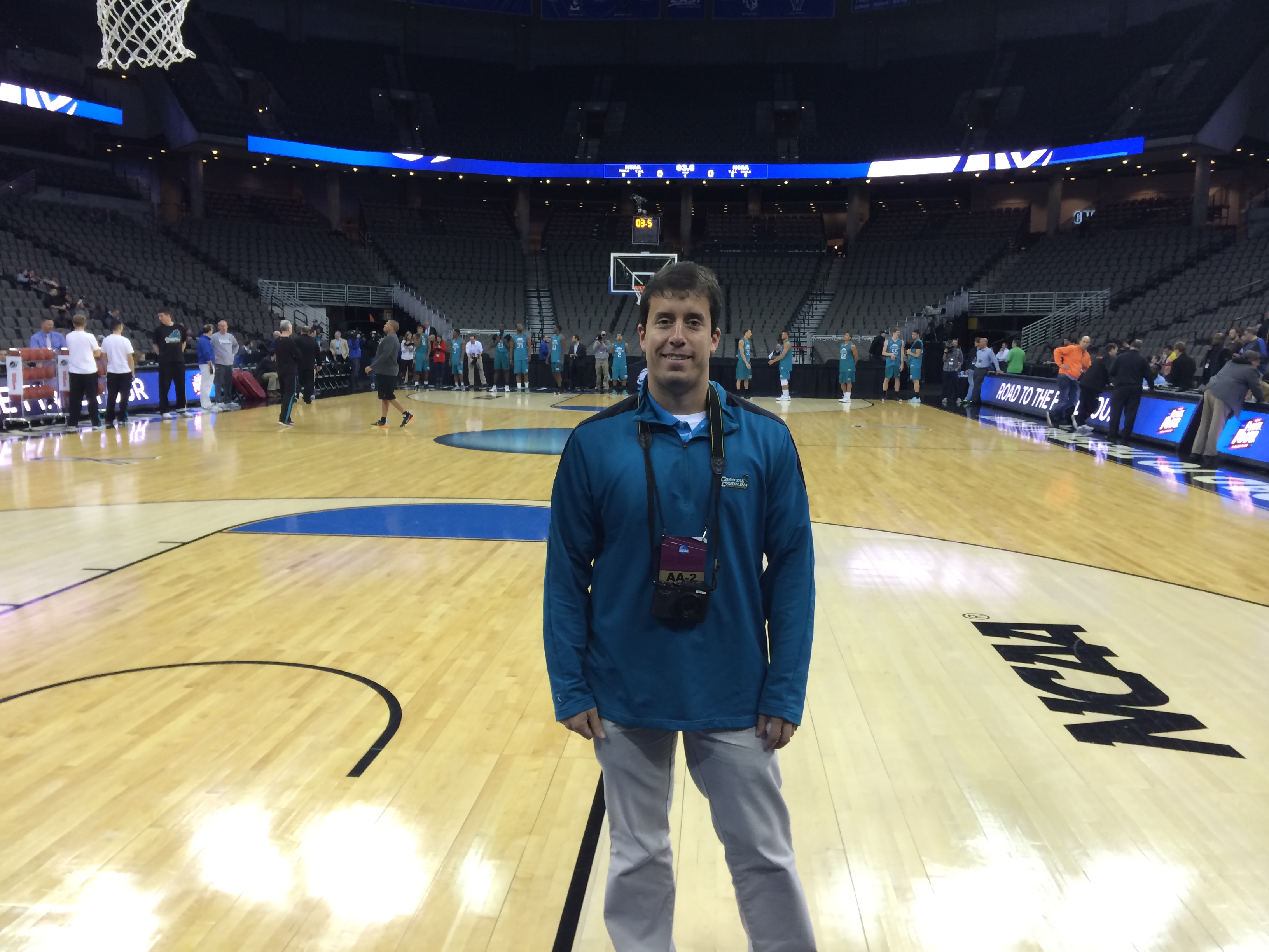 This was me at the shoot around at the CenturyLink Center on Thursday night.