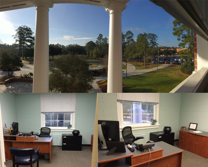 Up top is my view and below are a couple different angles of my new office.