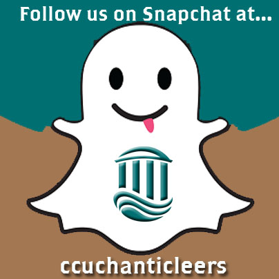 "Follow us on Snapchat by searching ""ccuchanticleers."""