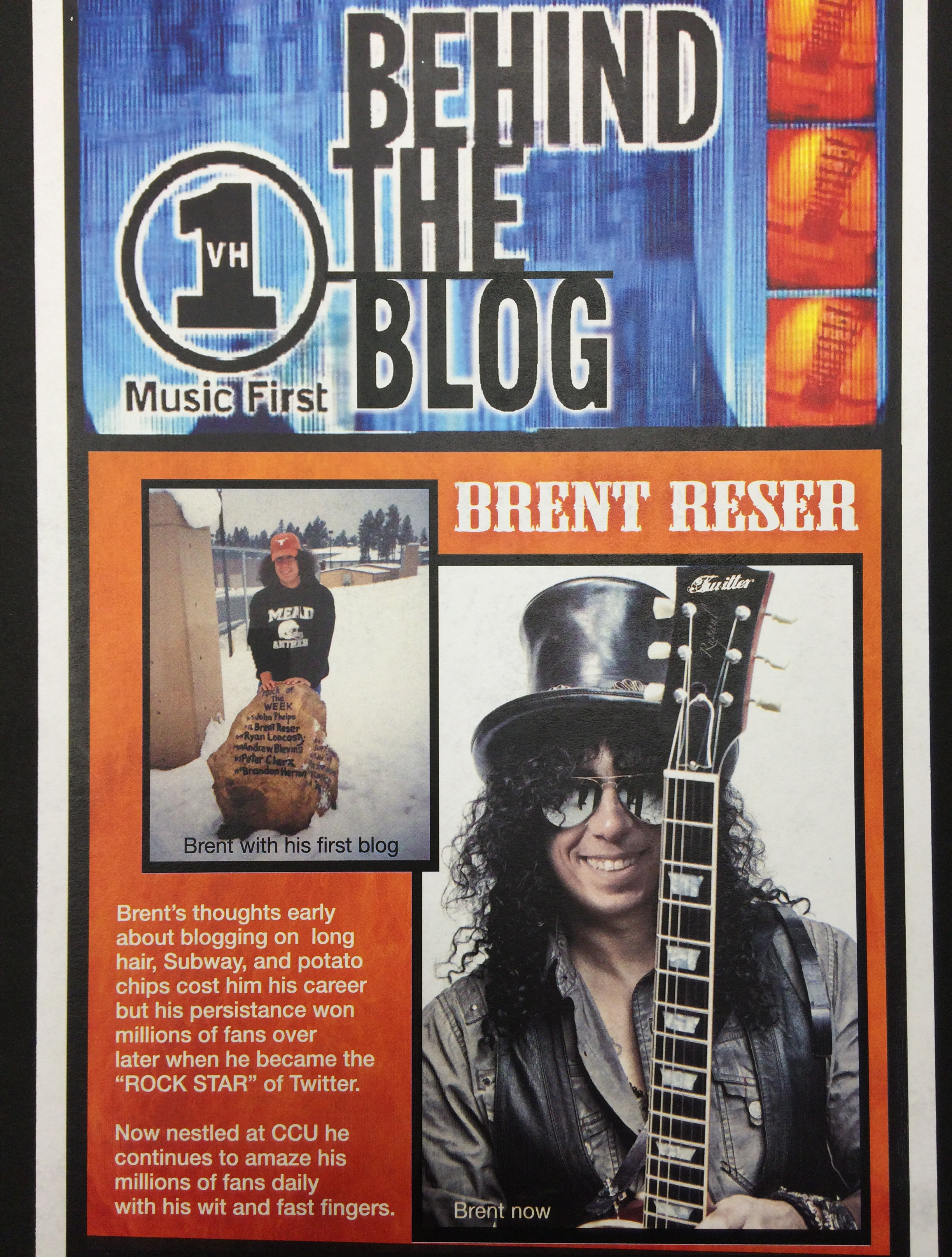 "Our graphics department created this hilarious birthday card for me based on VH1's ""Behind the Music."" Yes, that is my face on Slash's body."