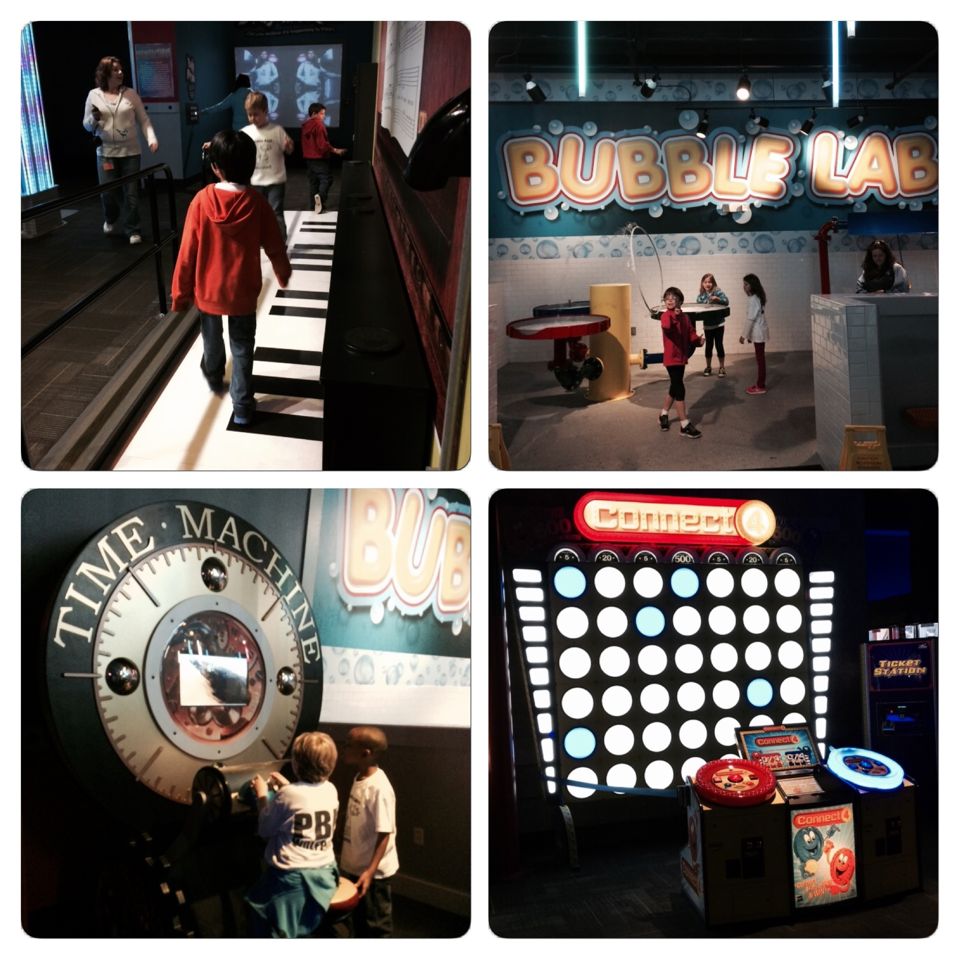 Wonderworks is a really cool place. A look at the giant piano, the Bubble Lab, time machine, and one of the giant interactive games.