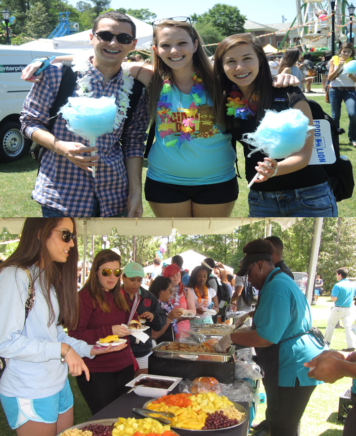 CINO Day had a lot of food options. Above some student enjoy cotton candy and below students go through a Hawaiian line.