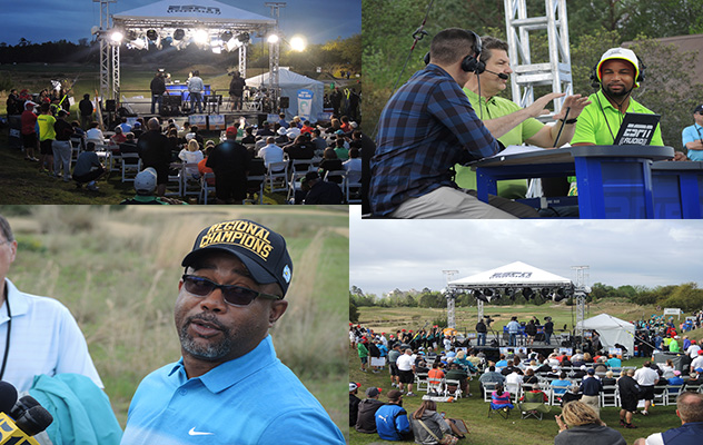 A couple photos showing the night and day contrast along with a shot of Darius and a photo of Golden Tate with Golic and Ryan.