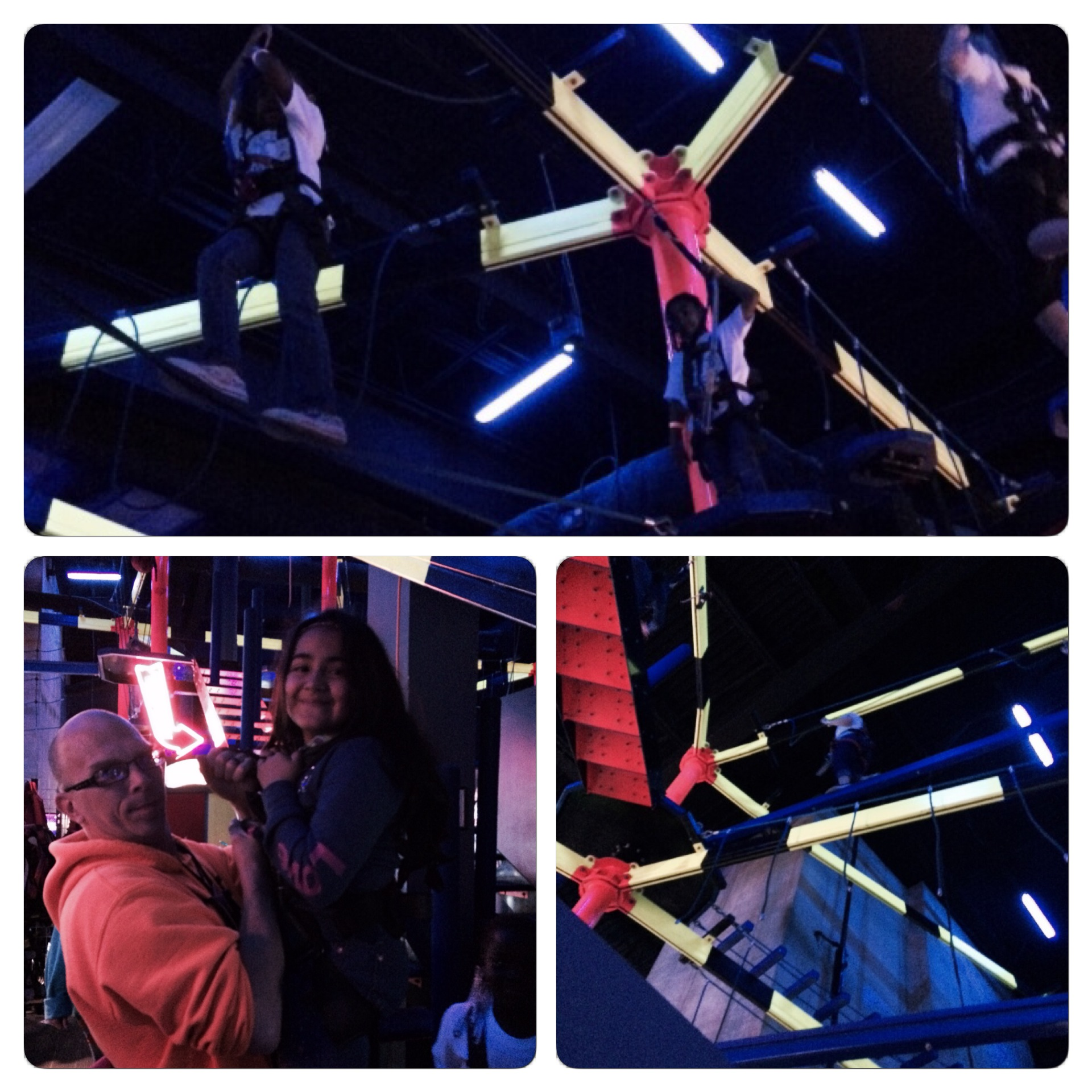 In the top image you see two student navigating the course. In the bottom left hand image a Wonderworks employee makes sure a student's harness is safe. In the bottom right hand photo you can see Sidney ascending higher and higher.