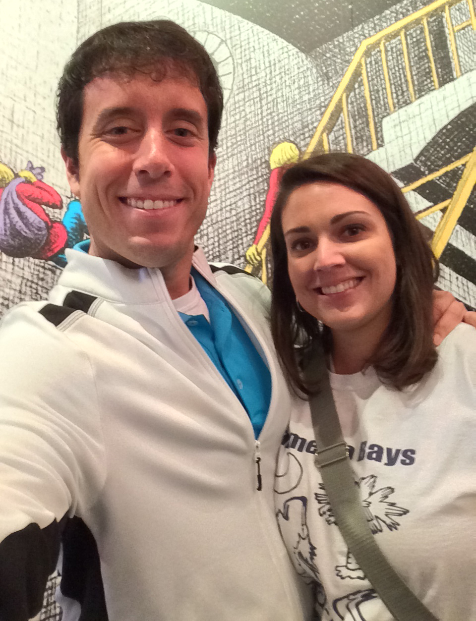 Sidney invited me to help out on a field trip. This is her and I this morning at Wonderworks. All students and teachers wore their Palmetto Bays t-shirts.