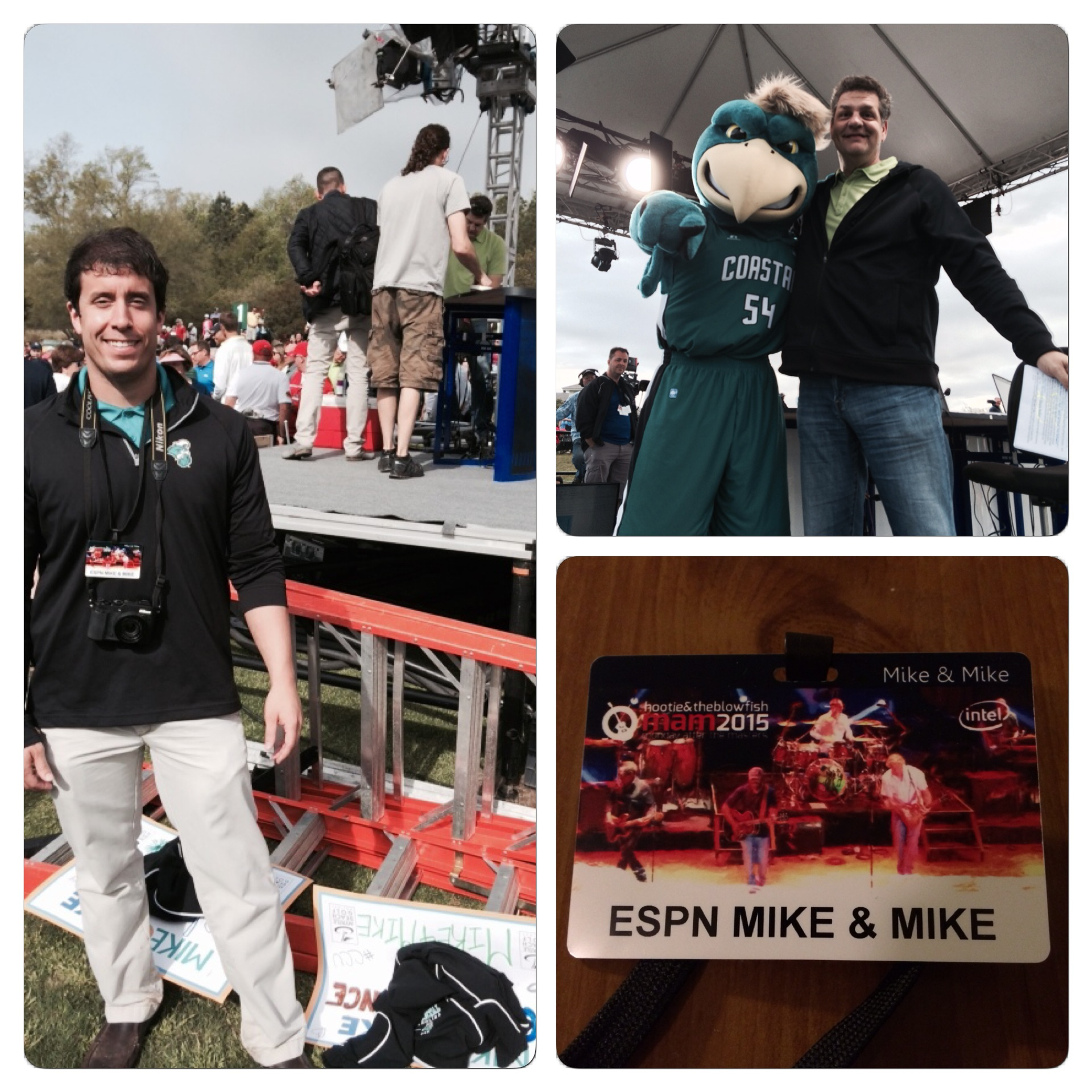 Just a few photos to get started. That is me in front of the set (you can see Golic), a photo I took of Golic and Chauncey that the show actually used for its own social media purposes, and my credential.