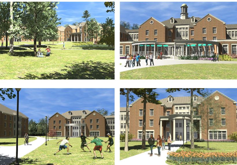 Renderings of all four of our new residence halls. They are named Chanticleer Hall, Tradition Hall, CINO Hall, and Teal Hall.