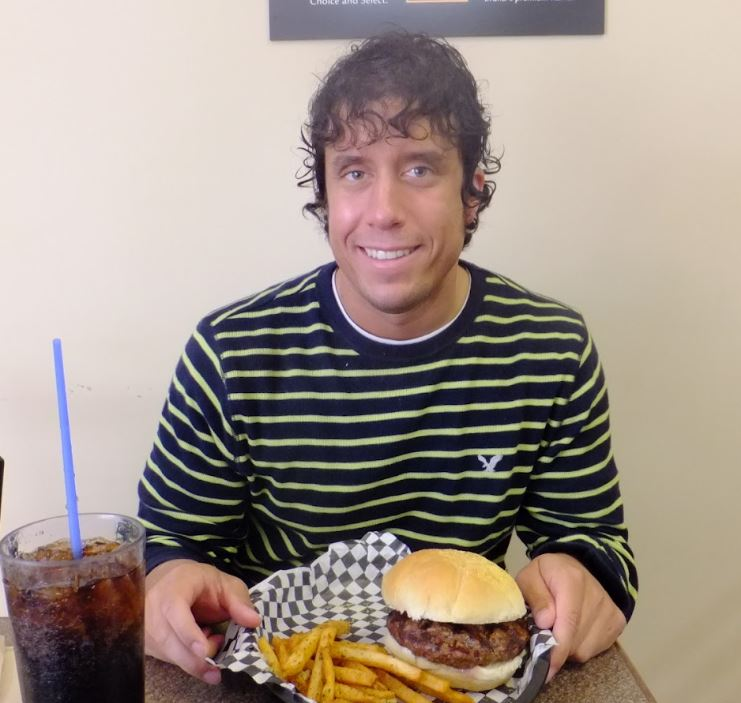 Me enjoying a burger at Burger Shack in 2012.