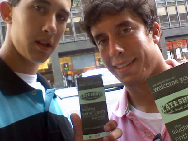 "Glen and I with our ""Late Show"" tickets right before we entered  the theater in 2008."