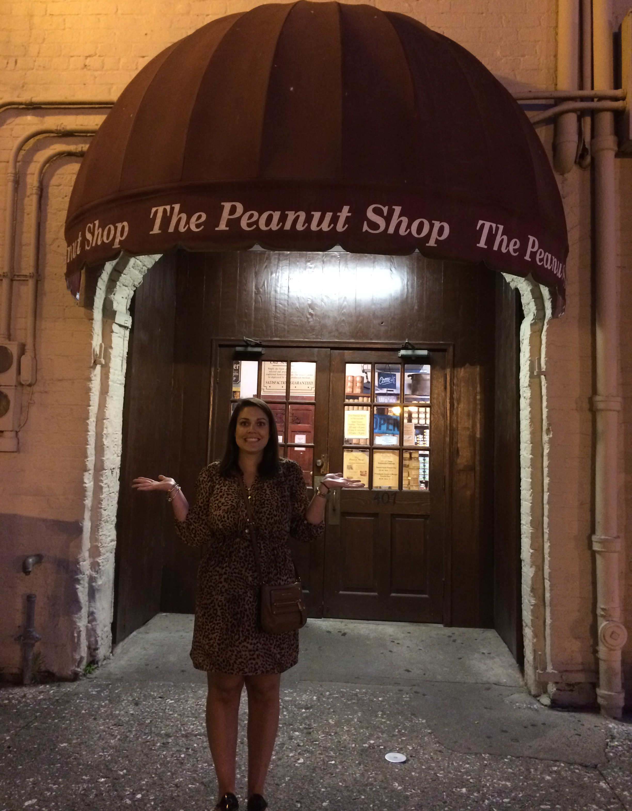 Sidney in front of The Peanut Shop.