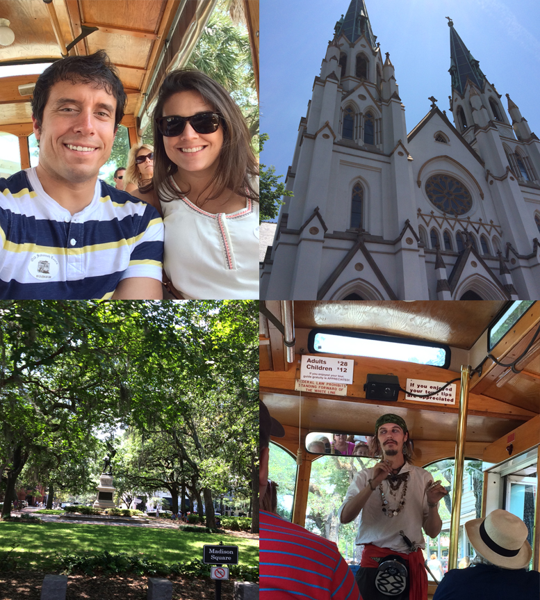 Some of the images from our tour! (clockwise starting in the top left corner: St. John's Cathedral, a pirate that hopped on at one of the spots, Madison Square, Sidney and I on the trolley).