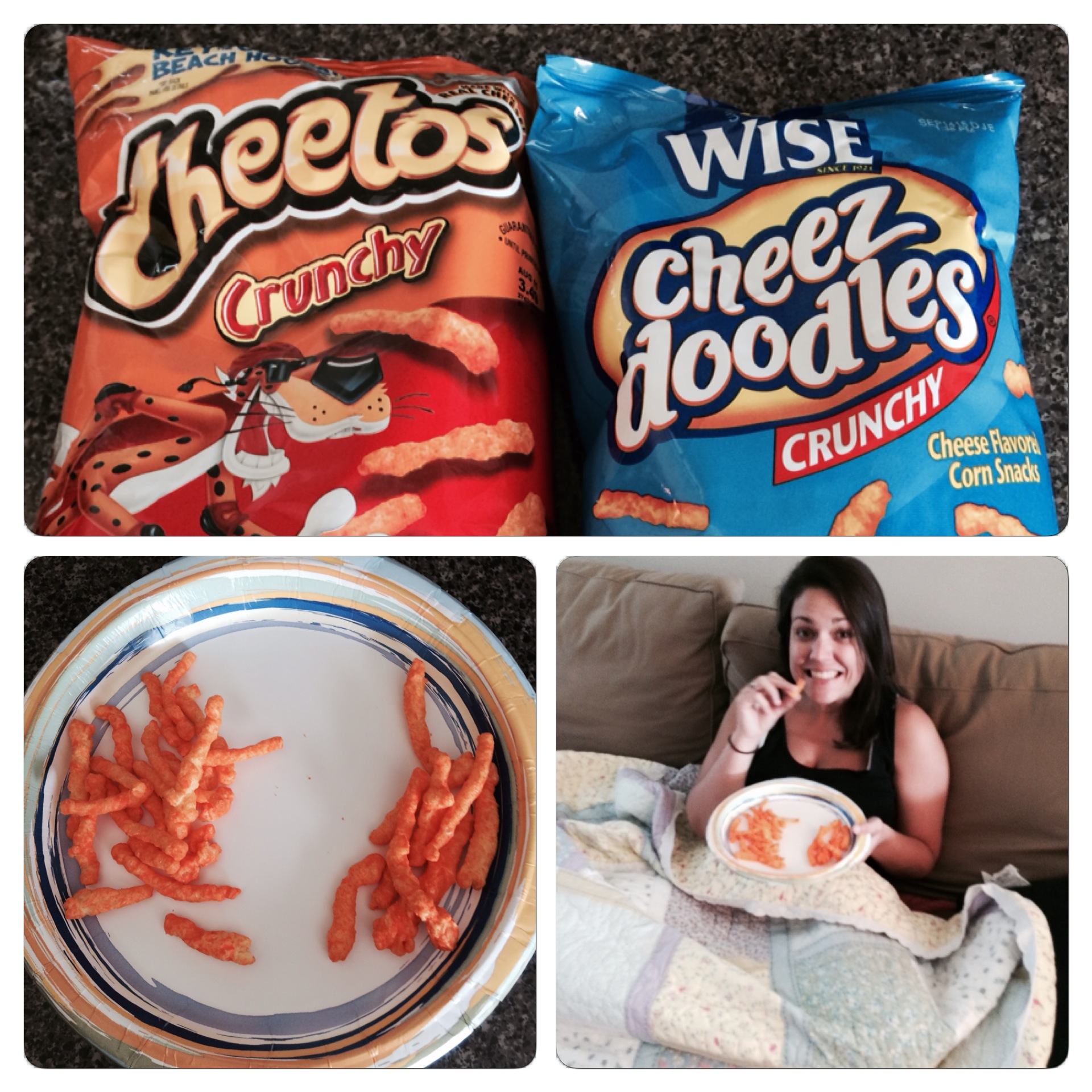 On the plate, the real Cheetos are on the left.