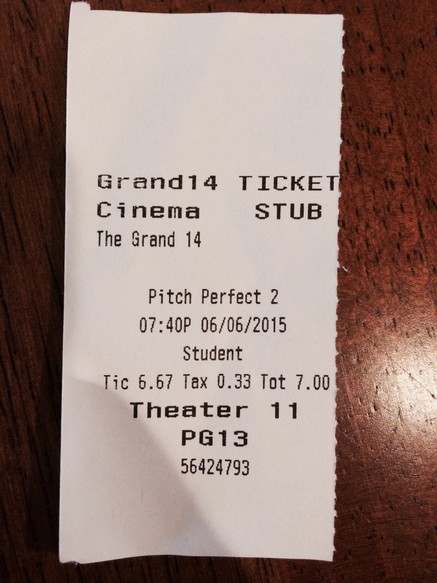 "My ticket to ""Pitch Perfect 2""."