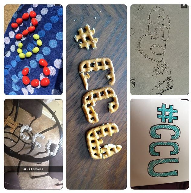 Here is a collage of some of the Snaps we received from our Snapchat audience spelling out #CCU.