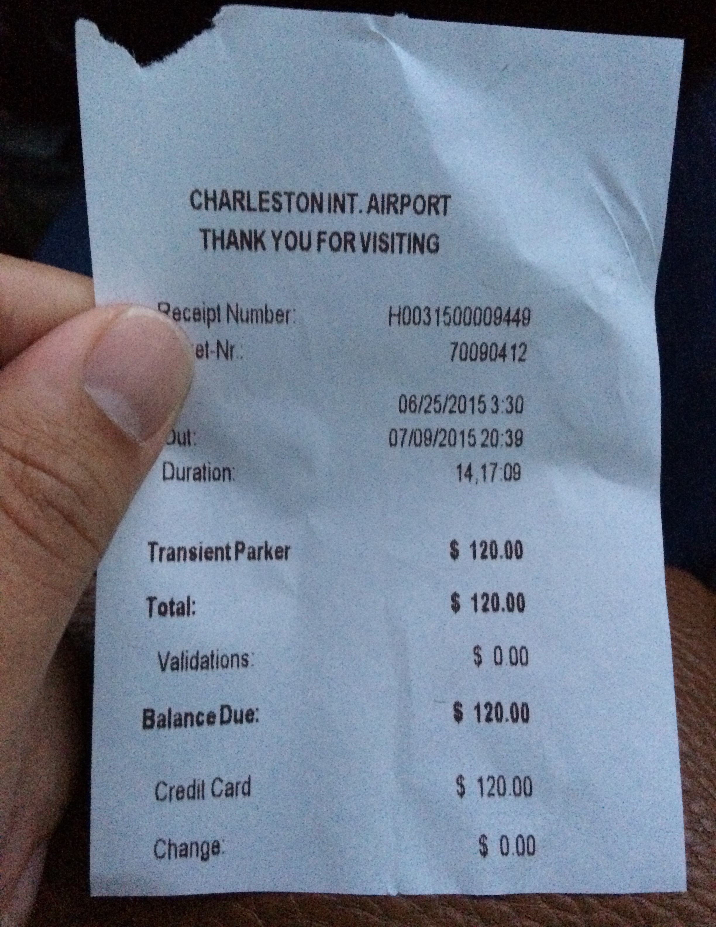 The cost to keep Sidney's vehicle parked at the Charleston Airport. Thanks Delta!