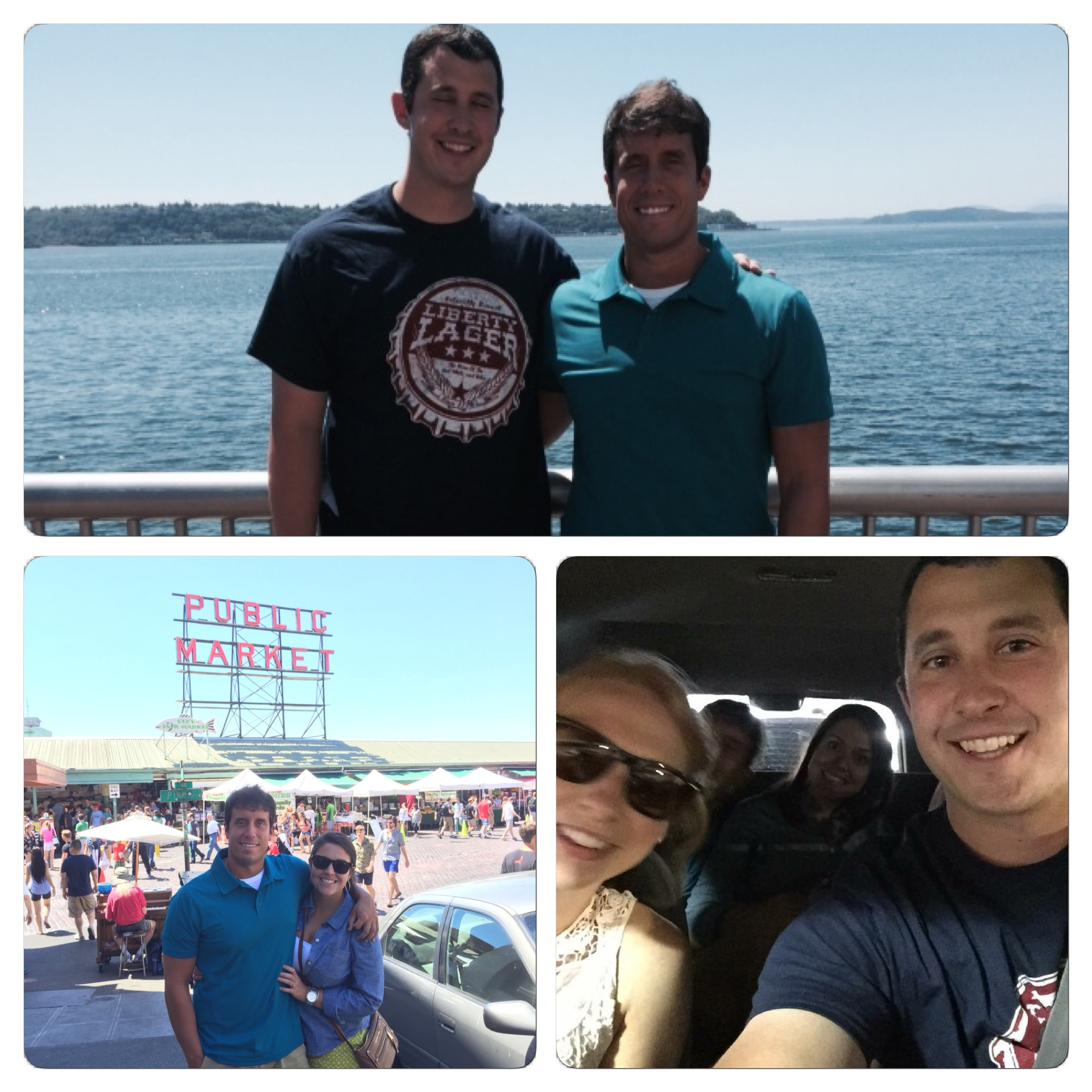 We had fun in Seattle! The top photo is of my brother and I at the Waterfront. The bottom left photo is of Sidney and I at Pike Place, and the bottom right photo is of our crew.