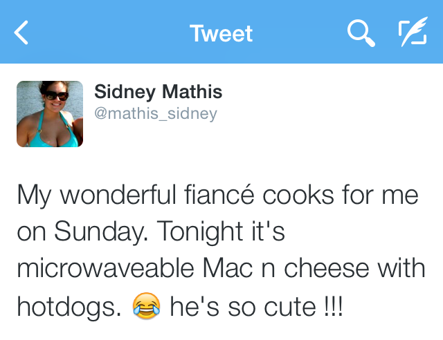 Sid tweeted out her appreciation for my labor in the kitchen.