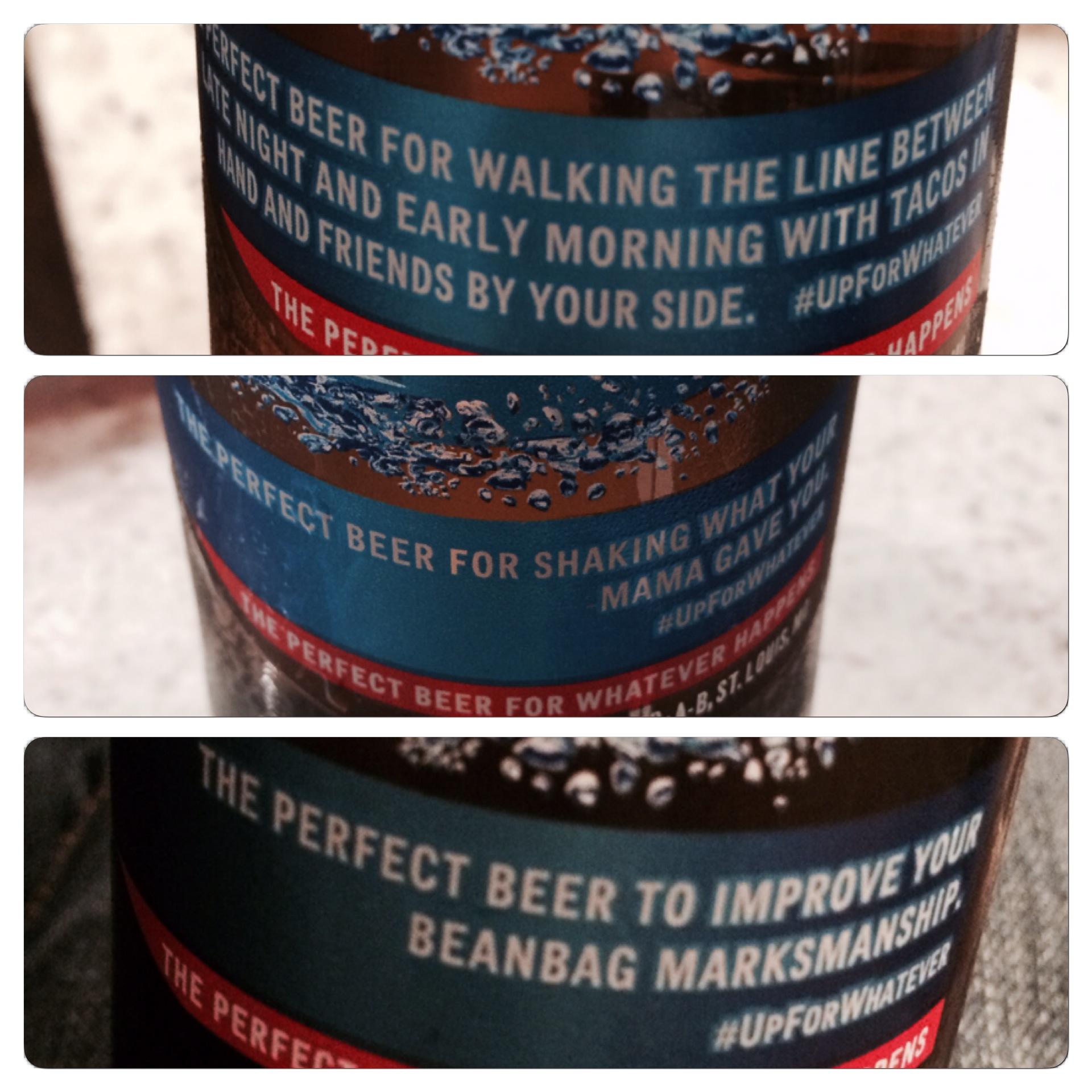 Some of the silly sayings on Bud Light labels.