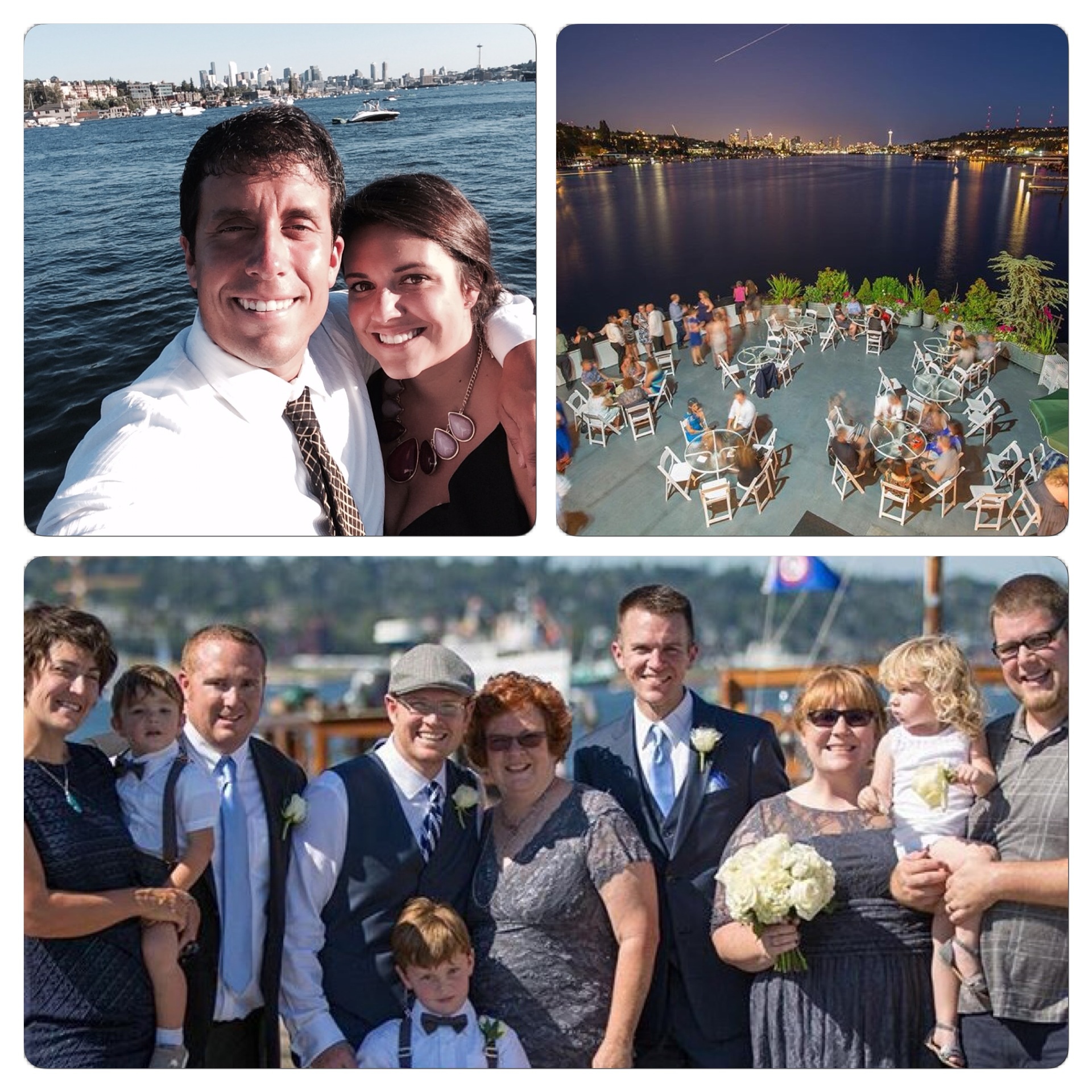 The top photo is of Sid and I with the gorgeous view from the ship as a background. The photo in the upper right hand corner is of the reception (courtesy of Kenny and Steve's photographer). The bottom photo is of the wedding party (courtesy of Kenny and Steve's photographer).