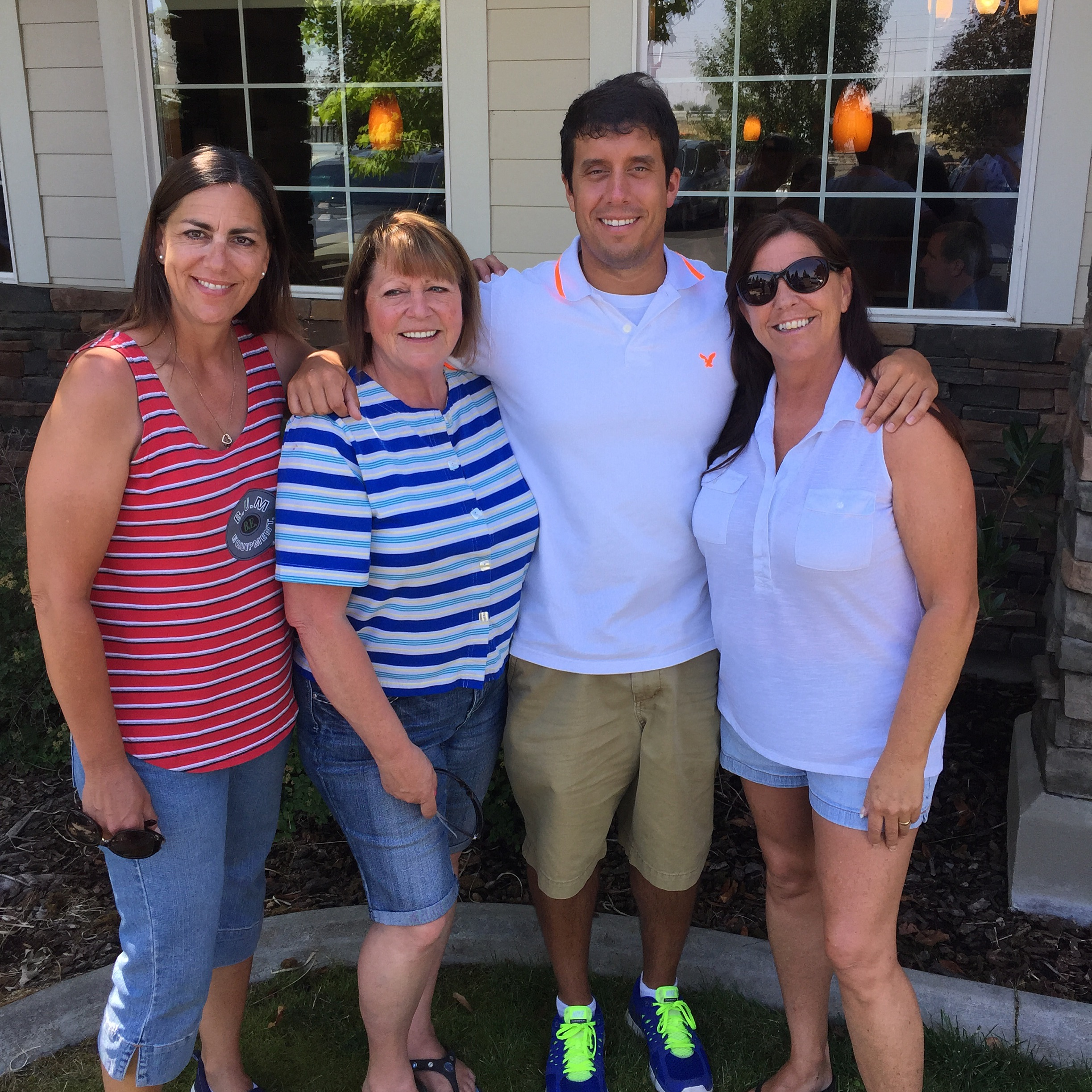 Me with my Aunt Debbie, Aunt Nancy, and Aunt Judy after breakfast on Sunday.