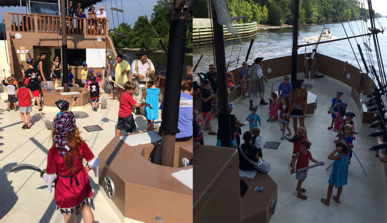 These images show the kids cleaning the deck of the ship and practicing sword fighting.