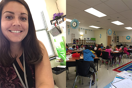 First day of class selfie on the left and Sidney's class on the right.