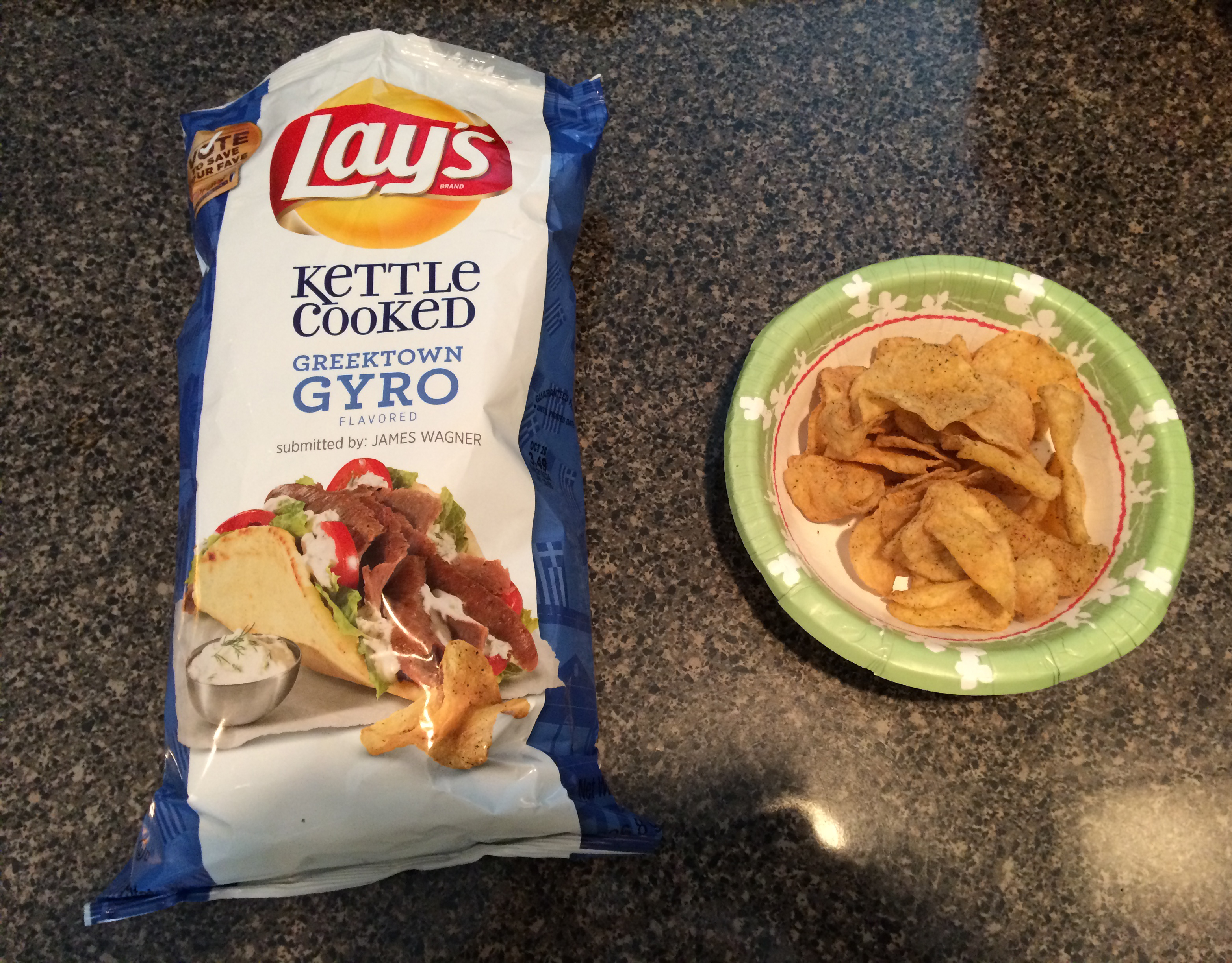 The #DoUsAFlavor Kettle Cooked Greektown Gyro chips had a sour cream and onion flavor.