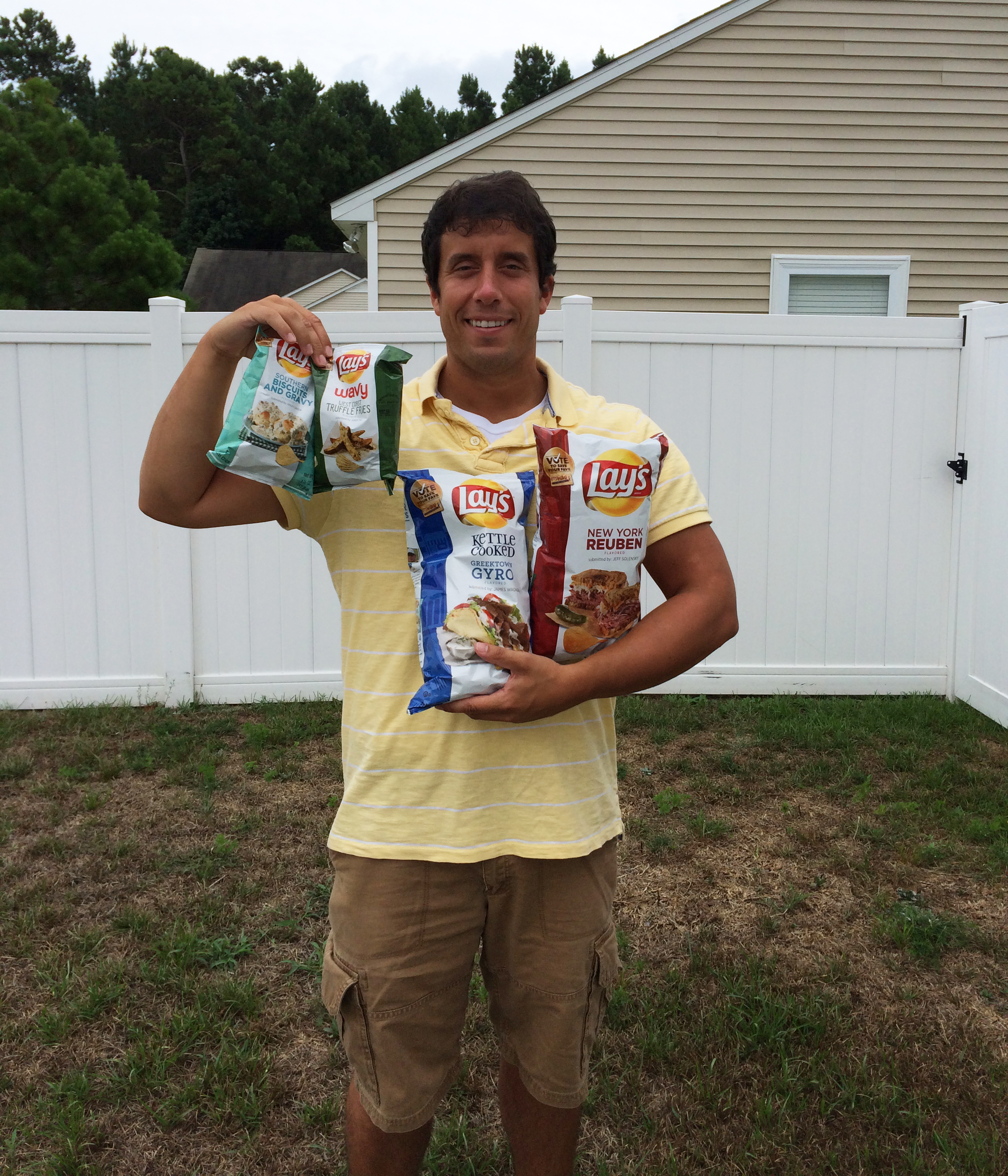 Me holding the 2015 #DoUsAFlavor Lay's potato chips.