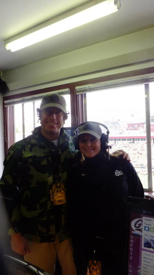 I had the privilege of helping to put on the Gameday Experience while at the University of Montana. This is Christie and I up in the control room of the press box on Military Appreciation Day.