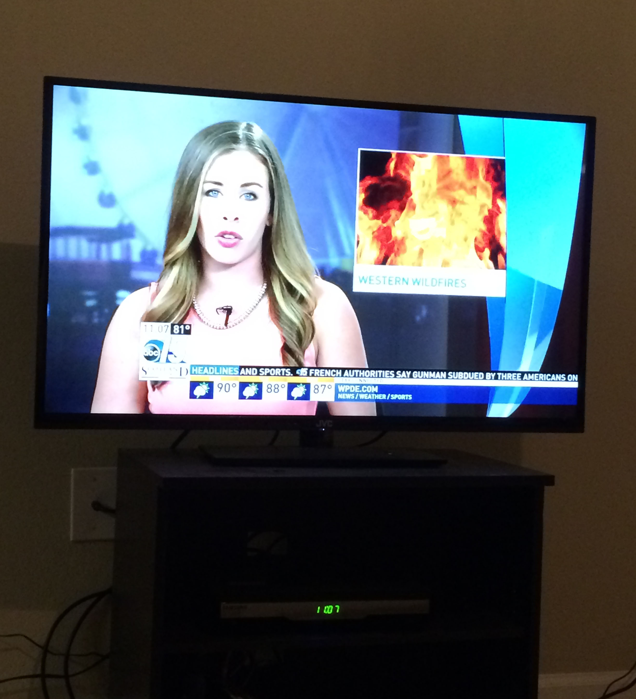 I watched the local Myrtle Beach WPDE broadcast last night as anchorwoman Alex Heaton talked about the Washington state wildfires.