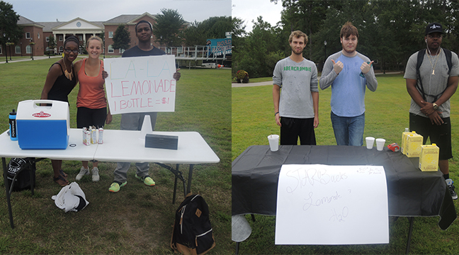 The group on the left had bottled water in their color and lemonade mixes on the table. The group on the right sold Starbucks lemonade.