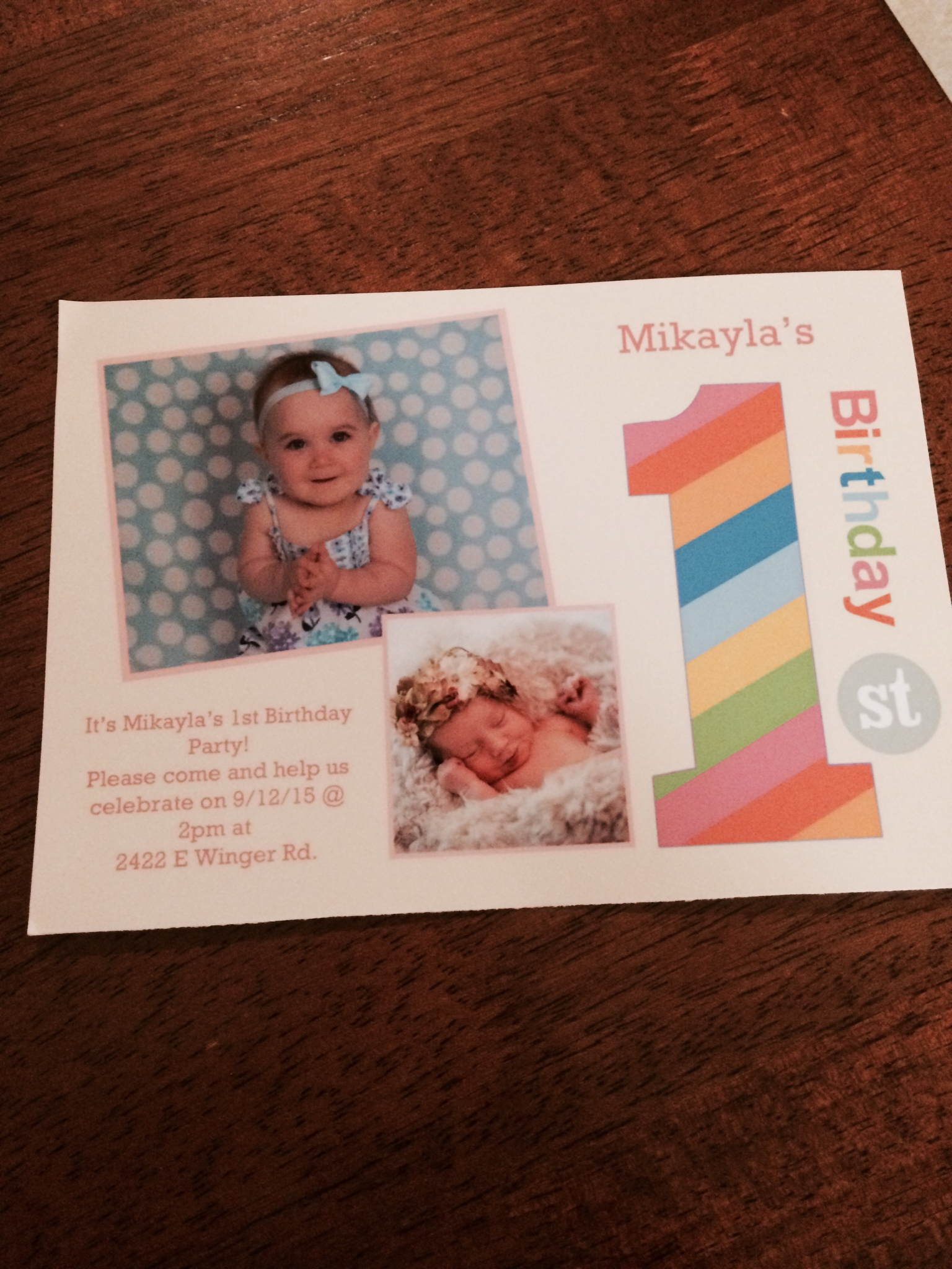 This is the invitation I received for Mikayla's birthday party.