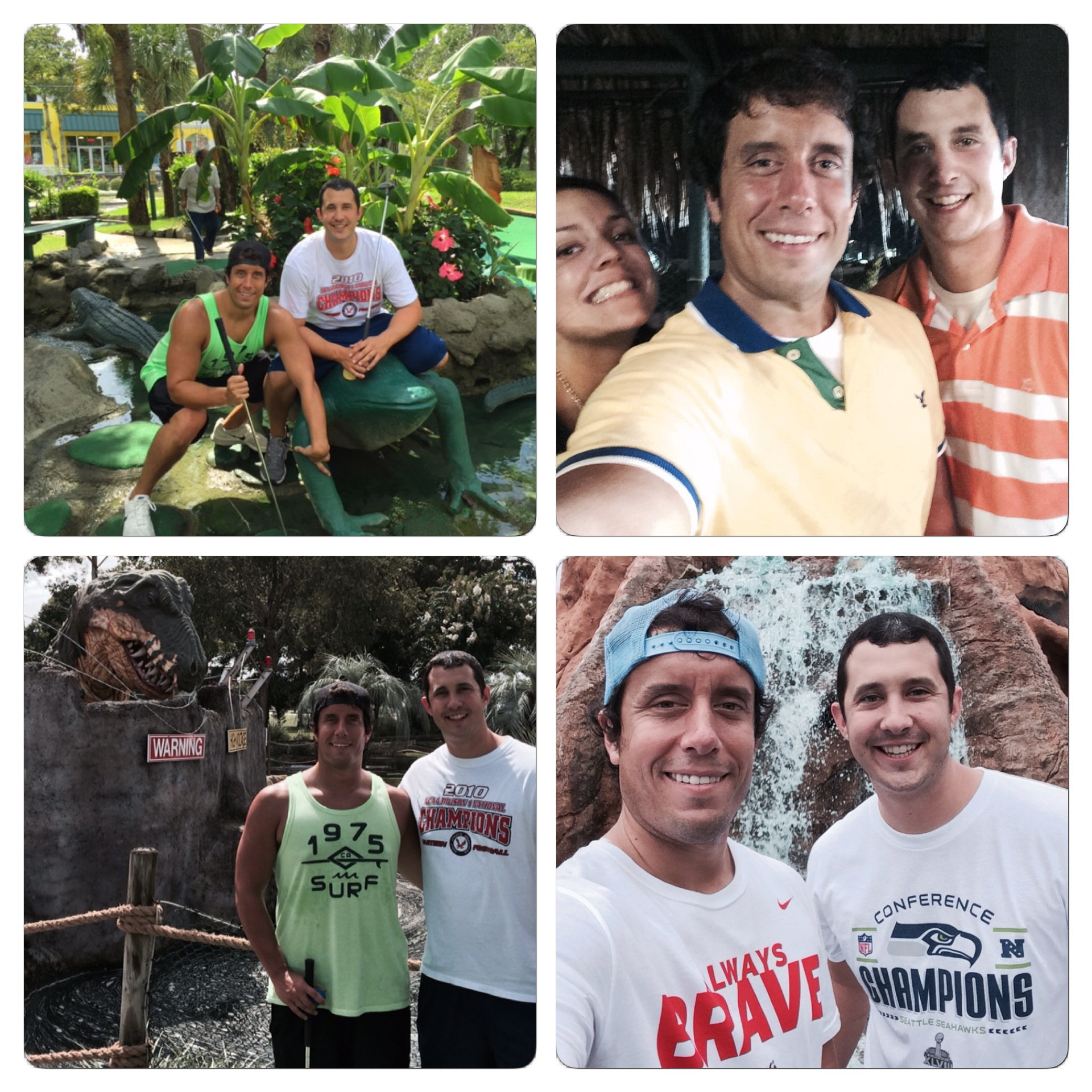 We took a photo at each course we visited. Going clockwise starting with the image in the upper right hand corner: Mt. Atlanticus, Shipwreck, Jurassic, Jungle Lagoon.