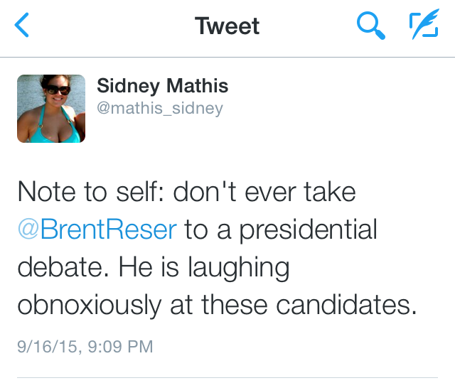 A tweet from Sidney regarding us watching the debate.