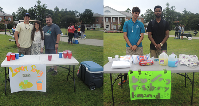 This first group on the left offered a chance to win an extra cup if you made a water pong shot. The group on the right had blue raspberry lemonade.