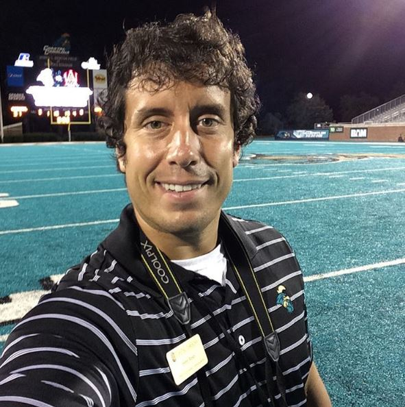 Me standing in Brooks Stadium on our teal turf after the September 26 game. Moving to the Sun Belt and the first game played on this field with the new turf brought a lot of excitement in September to TealNation.