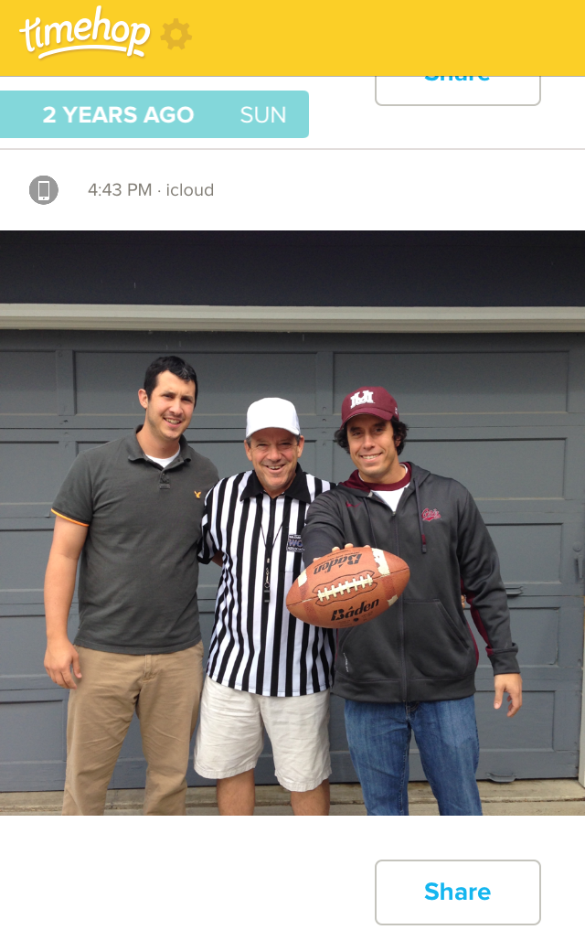 Timehop let me remember this fond memory two years ago with my dad and brother.