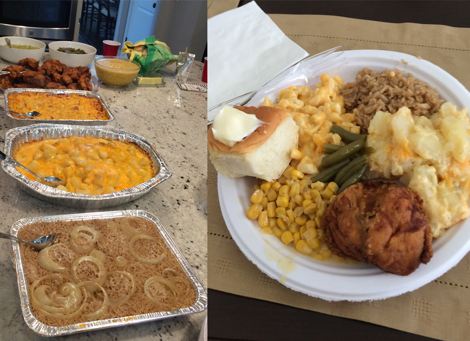 A look at the food spread on the left and then my own plate on the right.