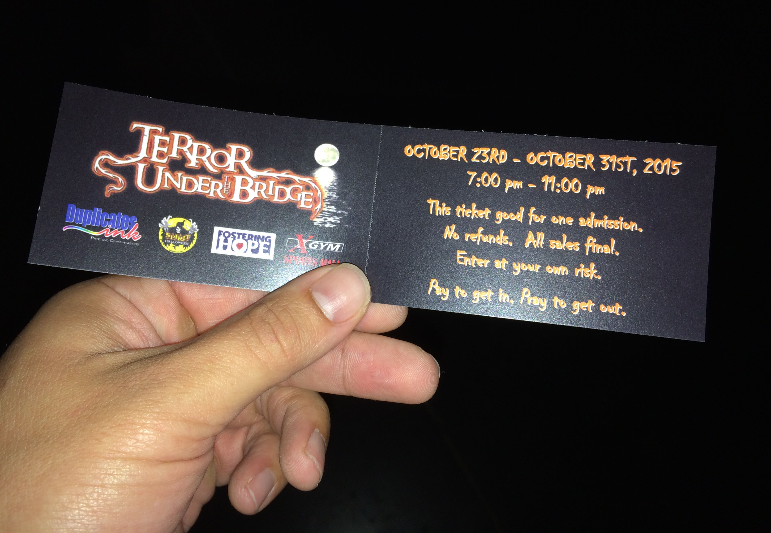 My ticket for Terror Under the Bridge.