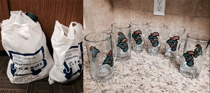 The bags I filled up and the glassware that I purchased.