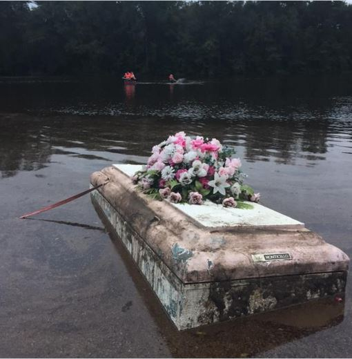 So unfortunate. This was one of the caskets in Ridgeville that was unearthed (Photo courtesy of WCBD-TV).