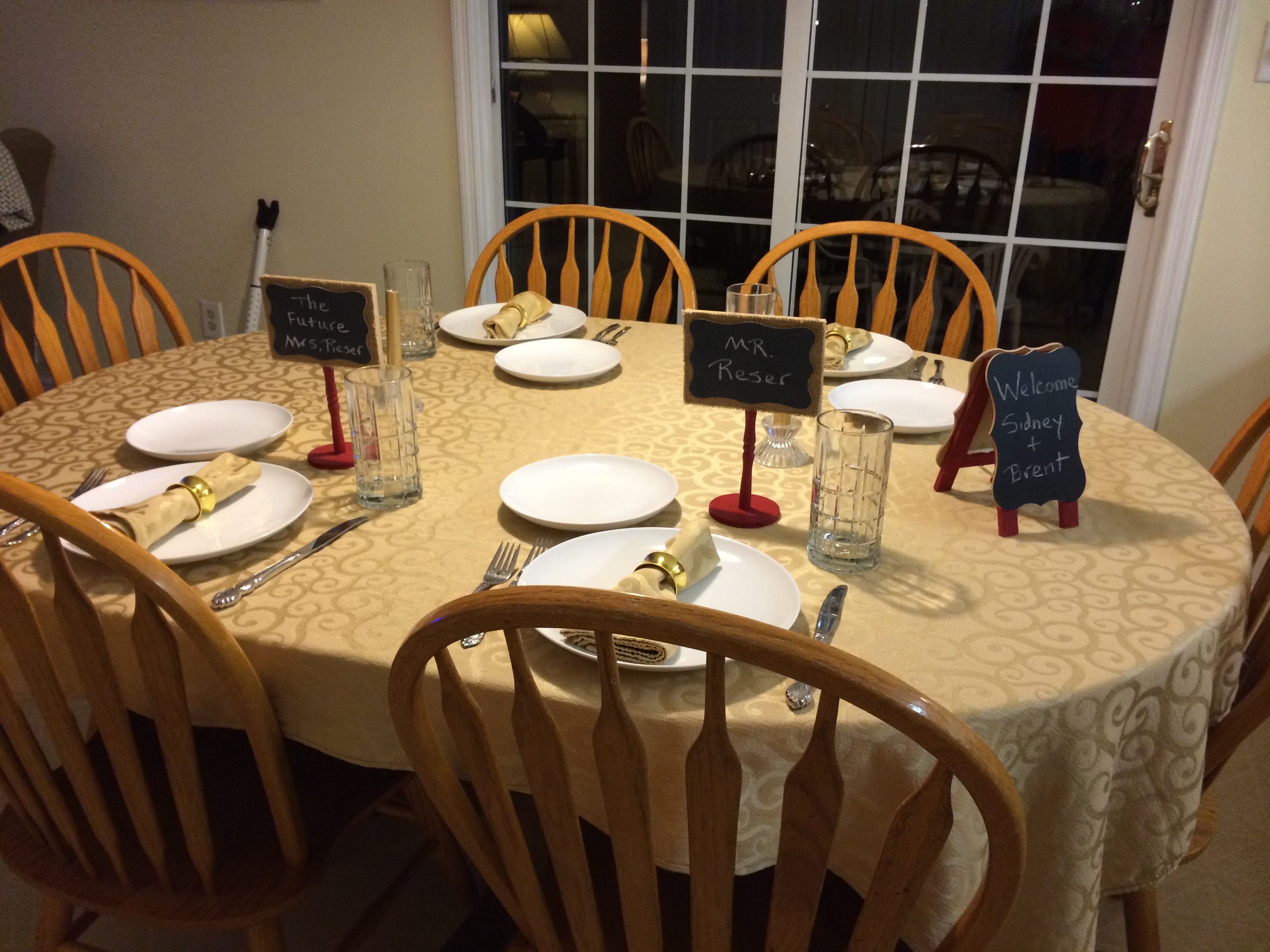 This was how the McCormick's set the table for us last night.
