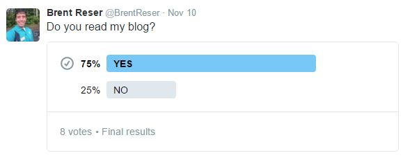 BREAKING NEWS: We did a scientific poll and figured out that 6 out of 8 people read Brent Reser's blog!