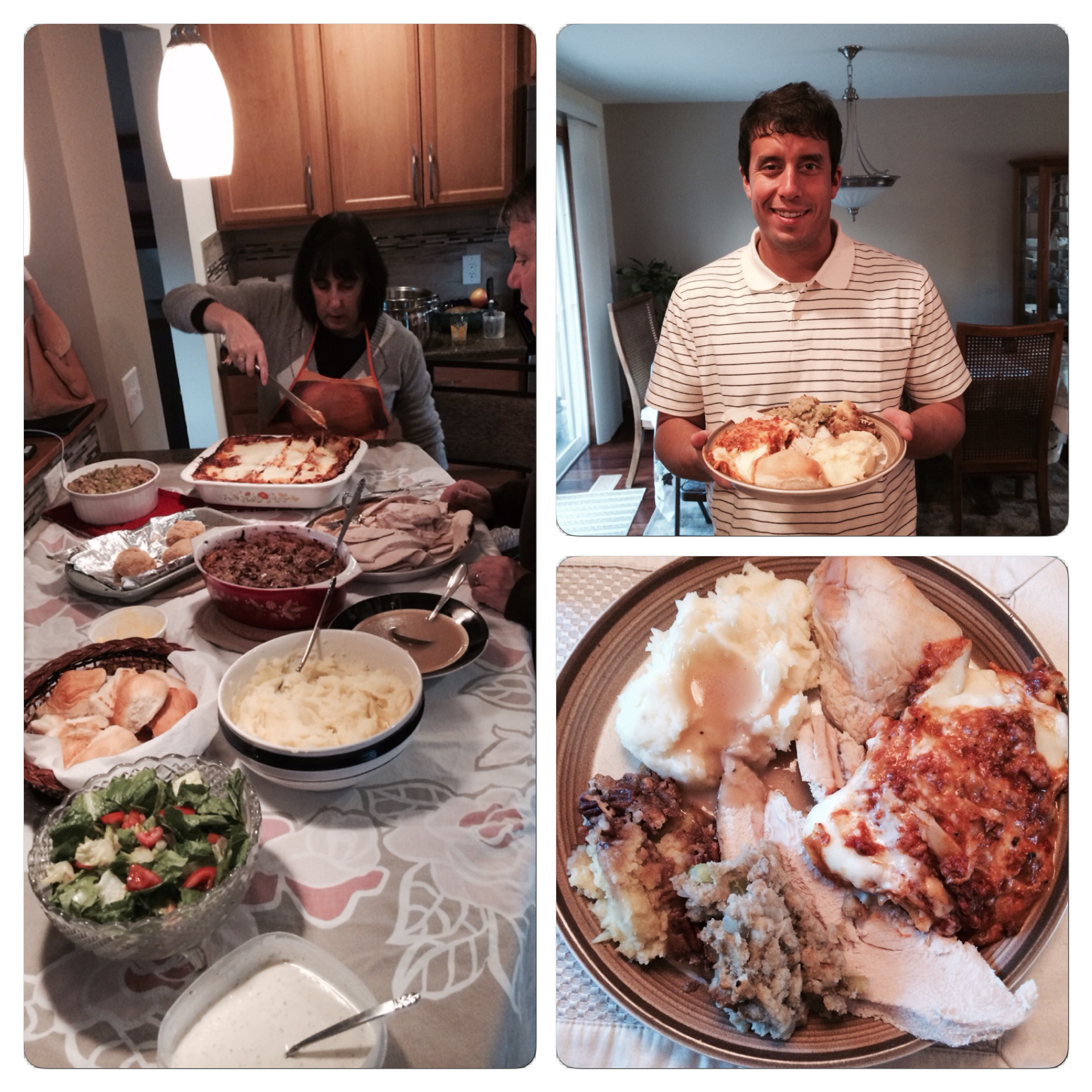 Some photos from our Thanksgiving last year. You can see my mom cutting up our signature lasagna.