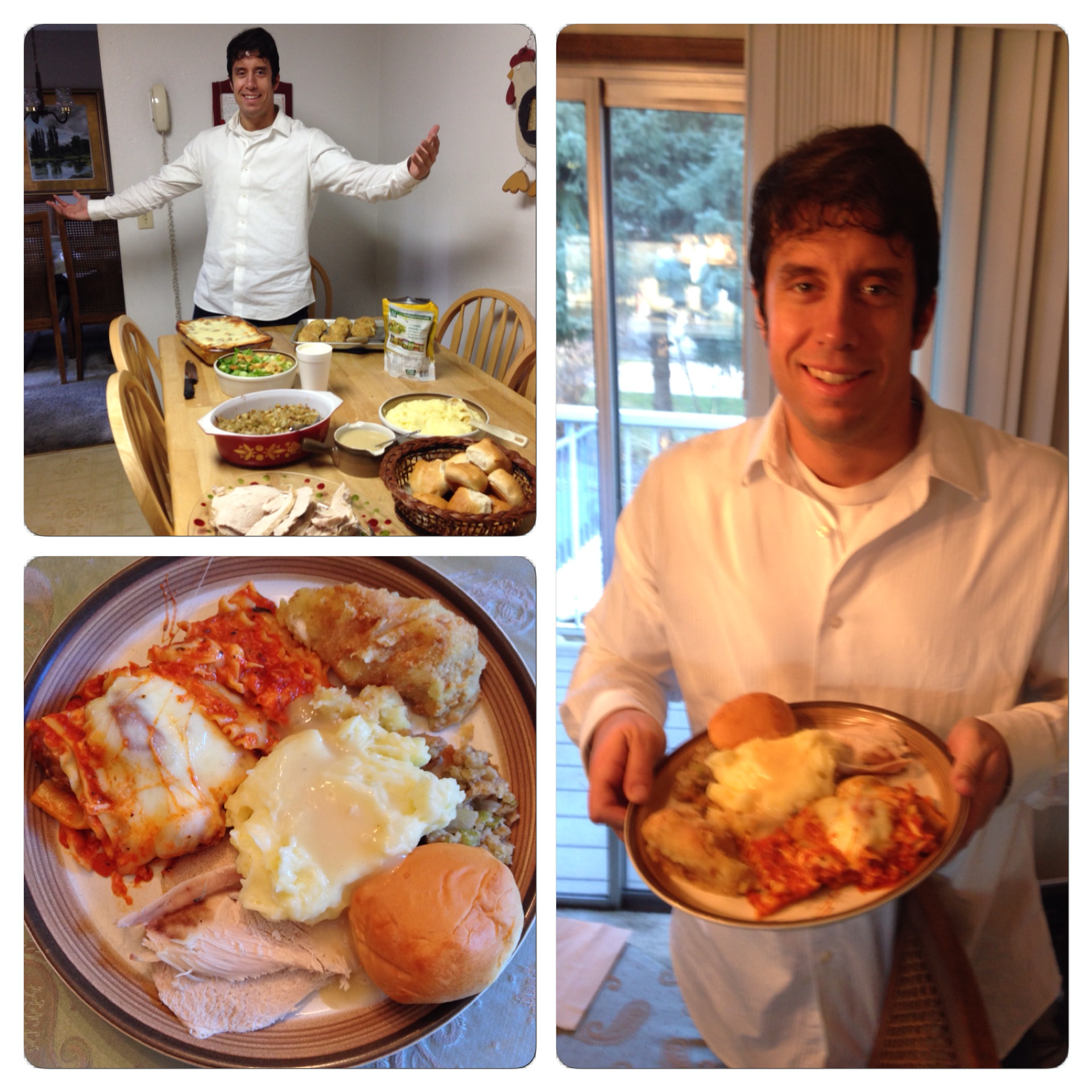 In these shots from Thanksgiving 2013 you can see the lasagna both on the table and on the my plate.