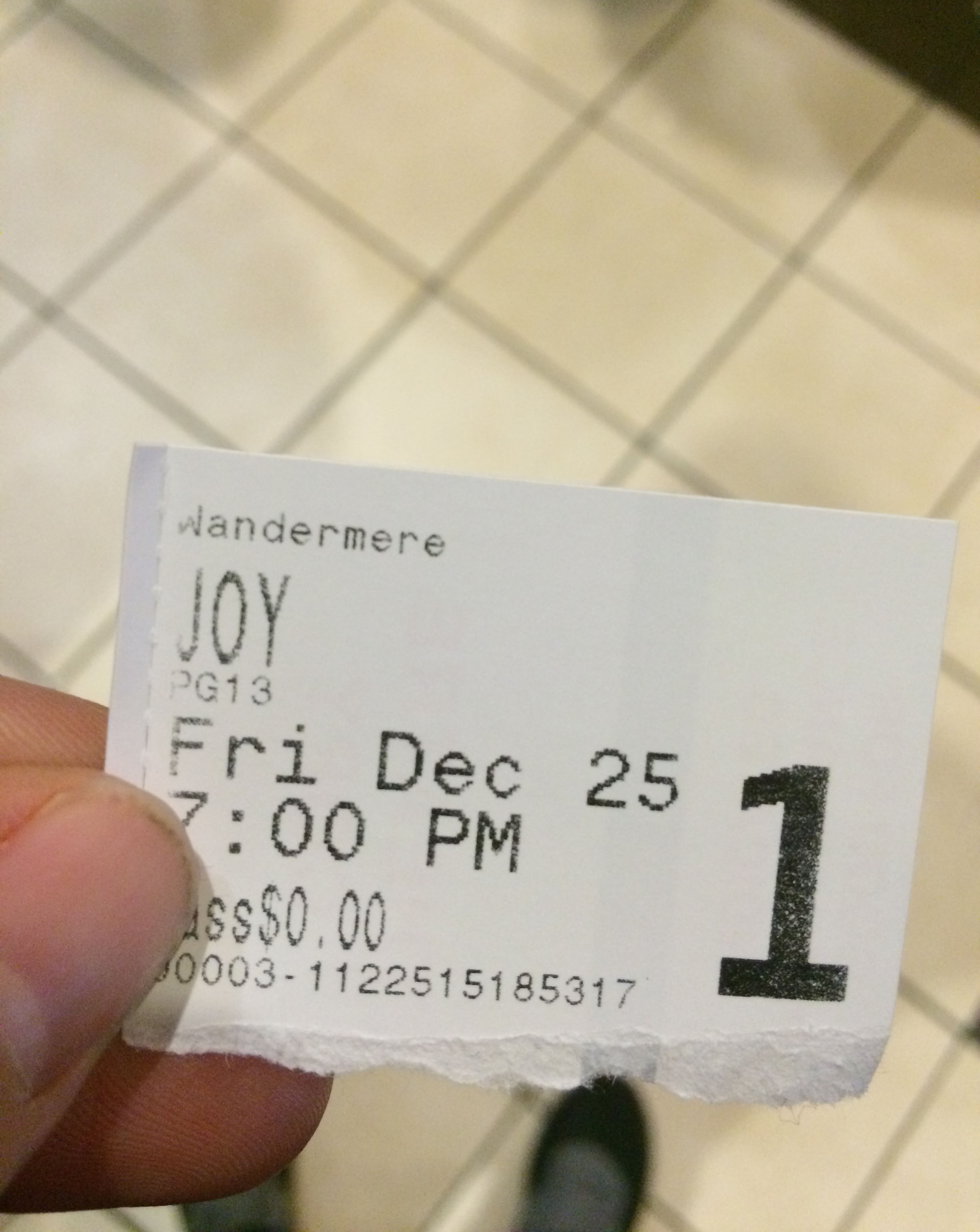 "Our Christmas family movie at the theater this year was ""Joy."""